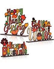 MALLMALL6 3pcs Thanksgiving Wood Table Decoration Centerpiece Happy Fall Turkey Harvest Time Letter Blessings Sign Knock-down Density Board Autumn Party Ornament Supplies for Dinning Room