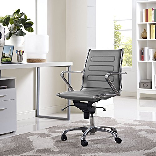 Modway Ascend Faux Leather Adjustable Swivel Office Chair in Gray