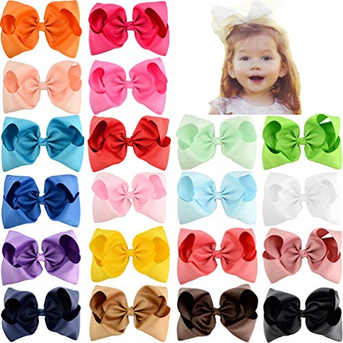20 Pcs 6 or 8 Inch Large Solid Bow Hairpin Girls Bows With Rope or Clip Hair Bows (678)