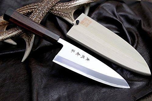 Yoshihiro Ginsanko High Carbon Stainless Steel Mizu Yaki Hongasumi Deba Japanese Fillet Chef Knife 6.5inch (165mm) by Yoshihiro