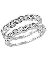 14K White Gold Milgrain Diamond Jacket Enhancer Engagement Ring Guard 1/3 CT