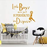 YANCONG Quote Wall Stickers Creativity Superheroes For Kids Room Pvc Nursery Bedroom Playroom Art Decor Wallpapers Decals 61X56Cm