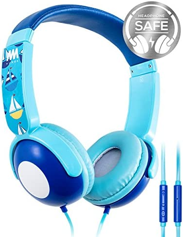 Kids Headphones, Mumba Volume Limited Over Ear Headphones Girls, 85 Safe Listening Adjustable Headsets with Microphone for Kids Children Blue