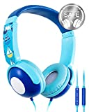 Kids Headphones, Mumba Volume Limited Over Ear Headphones Boys, 85 Safe Listening Adjustable Headsets with Microphone for Kids Children (Blue)