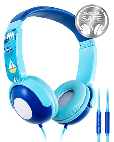Kids Headphones, Mumba Volume Limited Over Ear Headphones, 85 Safe Listening Adjustable Headsets with Microphone for Kids Children (Blue) by Mumba