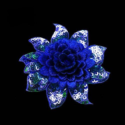 (1pcs Blue 3D Embroidery Lace Flowers Patch DIY Handmade Accessories Multi-Layer Applique Sequined Flowers Clothes Decorative Diameter 8cm)