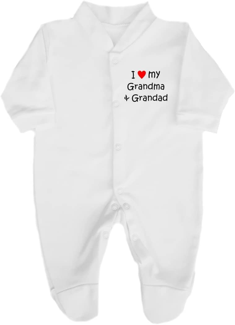 My Grandma /& Grandad Cute Babygrow// Sleepsuit 0-3 Months The Bees Tees I Love Red Heart