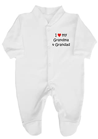 ecb3ff72077b The Bees Tees I Love (red heart) My Grandma   Grandad Babygrow ...