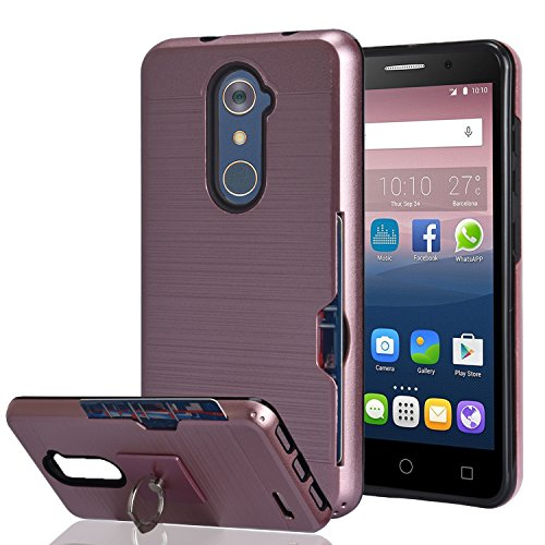 ZTE Imperial Max Z963U/ZMAX Pro Z981/Kirk Z988/Grand X Max 2/Max Duo LTE Case With Phone Stand,Ymhxcy [Credit Card Slots Holder] Dual Full-Body Shockproof Protective Cover Shell For Z981-LCK Rose Gold - Lte Grand X Max Cases