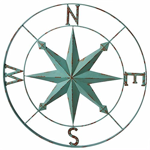 Nautical Aqua Blue Wall Rose Compass - 30-in