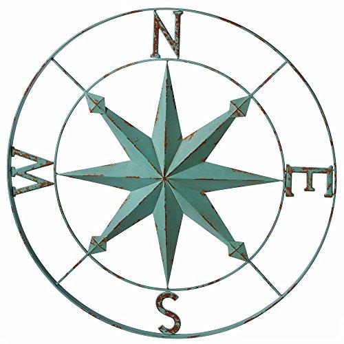 Nautical Aqua Blue Wall Rose Compass - 30- Metallic wall decor