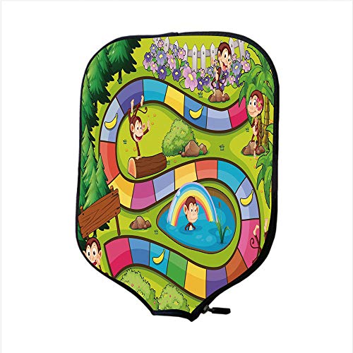 Neoprene Pickleball Paddle Racket Cover Case,Board Game,Monkeys Apes in Forest Colorful Curve Line Tropical Jungle Bananas Funny Silly Decorative,Multicolor,Fit for Most Rackets - Protect Your Paddle