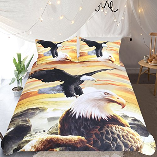 Sleepwish 3 Piece Eagles Bedding Flying Bald Eagle at Sunset Pattern Bird Duvet Cover Bedding Nature Lover Gifts ()