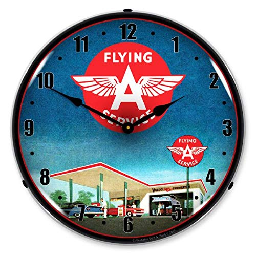 The Finest Website Inc. New L.E.D. Flying A Gas Station - Retro Vintage Style Advertising LED Lighted Clock - Ships Free Next Business Day to Lower 48 U.S. States