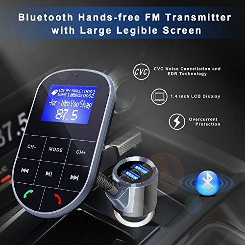 Bluetooth FM Transmitter For Car, Wireless Bluetooth FM Radio Adapter 2 Ports USB Car Charger 5V/2.4A&1A with Hands-Free Calling, Micro SD Card Aux Output by IMDEN (Image #6)