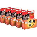 TopShot 376049 - Cámara desechable con flash, 27 disparos ( 5 unidades), naranja