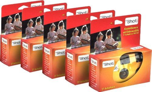 TopShot Single Use Cameras with 27 Photos and Built-In Flash Pack of 5