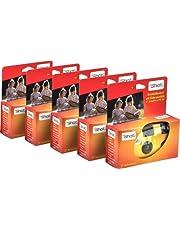 TopShot 376049 Wegwerp camera met 27 foto's + ingebouwde flitser wegwerpcamera pakket met 5 camera's, Geel, oranje