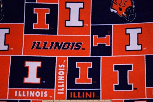 - Illinois Fighting Illini Fleece NCAA Collegiate Fabric by The Yard