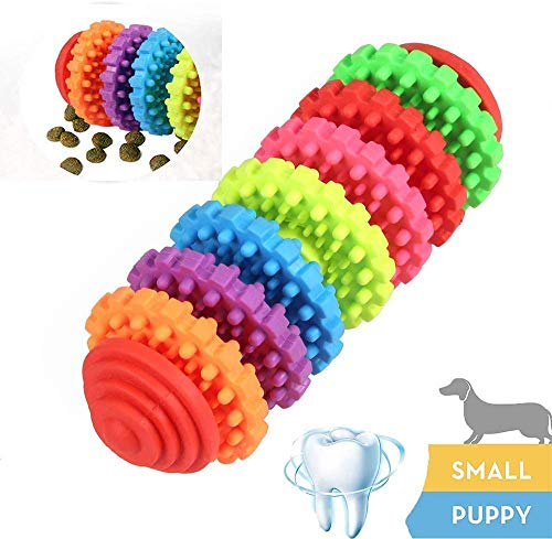 Durable Dog Chew Toothbrush Toys,Dog Treat Dispenser with Dental Care Massager,Natural Rubber Bite for Puppy&Medim Dogs