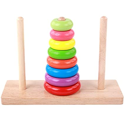 Wooden Rainbow Ring Stacker Stacking Tower Games Educational Toy For Baby