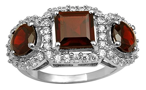 Banithani 925 Sterling Silver Garnet Gemstone Ring Elegant Fashion Women Gift Jewelry - Garnet Sterling Silver Designer Ring