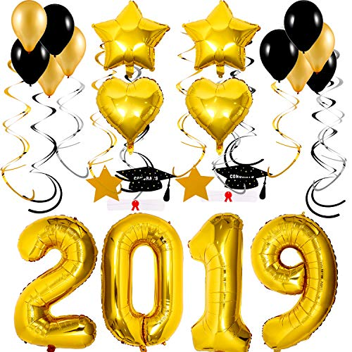 30 Pieces 2019 Gold Graduation Balloons Decoration for Graduation Party Supplies, 40 Inch 2019 Number Balloons 18 Inch Gold Star and Heart Balloons Mylar Latex Balloons with Graduation Hanging Swirl