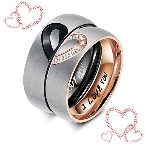 Sllaiss His & Hers Real Love Heart Promise Ring Titanium Couples Wedding Engagement Bands Top Ring Crystal from Swarovski Rose Gold Tone 7