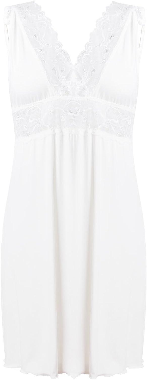 DKaren Nachtwäsche Nachthemd Damen Kurz Spitze Weiß