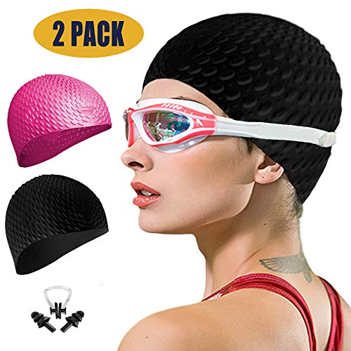 Swim Cap Women 2 Pack Swimming Cap for Long Hair for Women Men Kids with Nose Clip and Ear Plugs(Black+Pink)