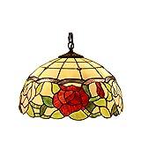 Amora Lighting Tiffany Style AM068HL16 Floral Hanging Lamp 16-Inch Wide 2 Light
