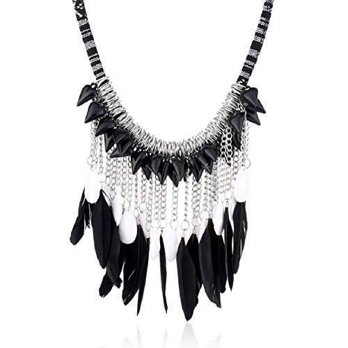 Yuriao Jewelry Retro Individual Tassel Fashion Drops Feather Necklace