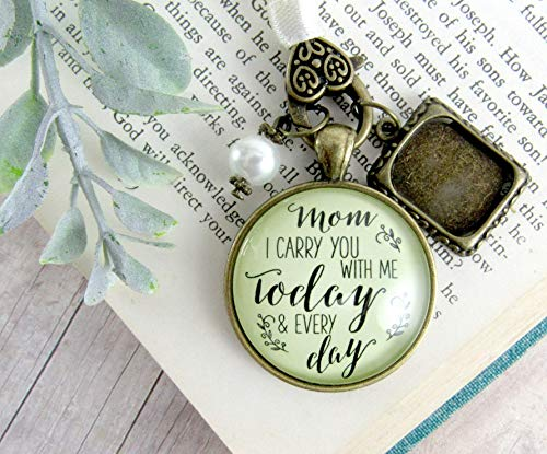 (Bridal Bouquet Photo Charm Mom I Carry You With Me Today Wedding Pendant Mother Memorial Remembrance Photo Jewelry)