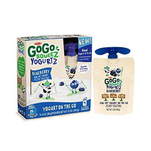 GoGo squeeZ YogurtZ, Blueberry, 3.2 Ounce Portable BPA-Free Pouches, Gluten-Free, 4 Total Pouches