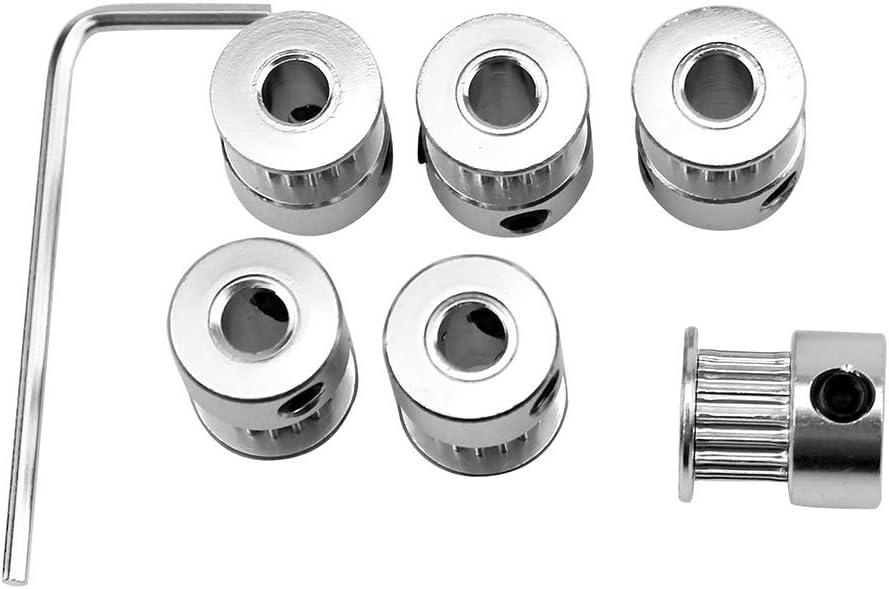 ICQUANZX 6Pcs Aluminum 5mm Bore GT2 Timing Pulley 16 Teeth and Allen Key for 3D Printer Reprap 6mm Width Timing Belt