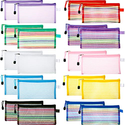 Bememo 20 Pieces 10 Colors Zipper Mesh Pouch A6 Size Multipurpose Travel Bag for Cosmetics Makeup Offices Supplies Travel Accessories