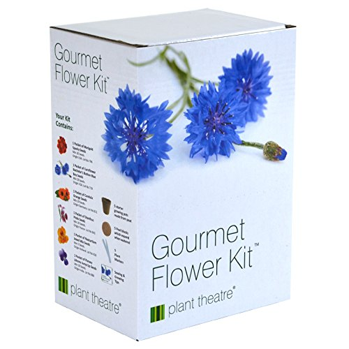 Growing Edible Flowers - Plant Theatre Gourmet Flower Seed Kit Gift Box - 6 Edible Flower Varieties to Grow, includes: BATCHELORS BUTTON BLUE BOY, CALENDULA, DIANTHUS, MARIGOLD SPARKY, NASTURTIUM & JOHNNY JUMP UP PANSY SEEDS. Everything you need to start growing in one box! Great Grow Kit Gift!