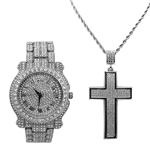(Bling-ed Out Ultimate Silver Iced Out Hip Hop Watch and Black Trim Iced Out Concave Shape Cross -L0504C Silver)