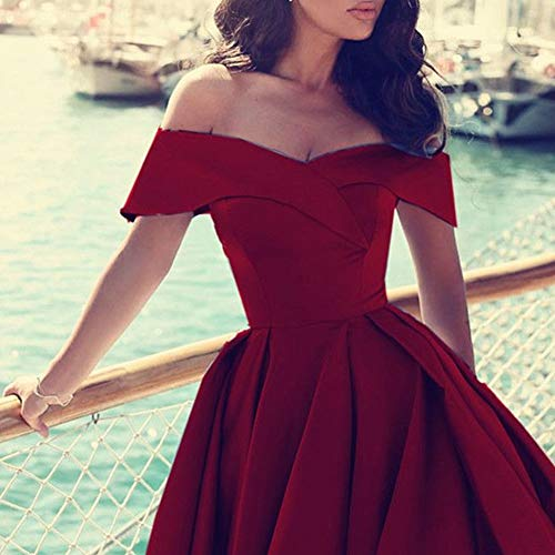 Bess Dress Split s up Evening Prom Shoulder High Bridal Red Lace Women Off OrxOqA6