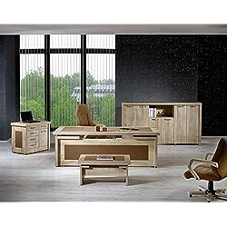 """Modern Agora 4 Piece Desk Office Suite Furniture Set 79"""" Beige & Brown"""