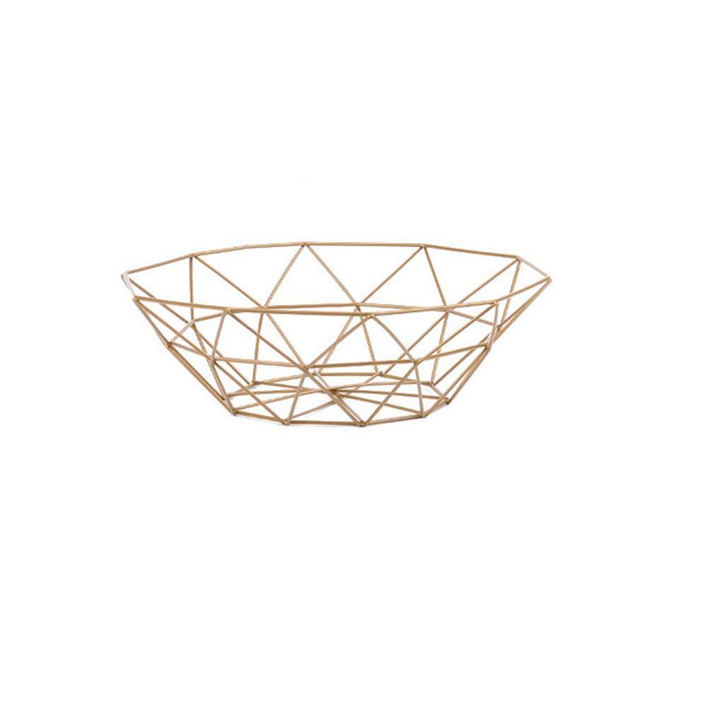 Metal Fruit Bread Racks Vegetable Storage Basket Gold 26×8cm