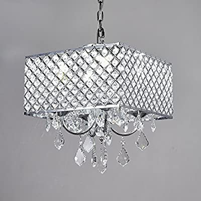 Diamond Life 4-Light Chrome Finish Square Metal and Crytal Shade Crystal Chandelier Pendant Hanging Ceiling Fixture