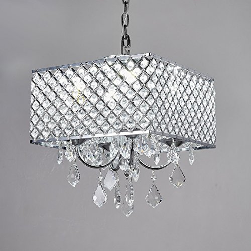Diamond Life 4-Light Chrome Finish Square Metal and Crytal Shade Crystal Chandelier Pendant Hanging Ceiling Fixture - Chrome Finish Four