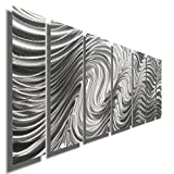 Silver Contemporary Metal Wall Art Sculpture - Multi Panel Metal Decor by Jon Allen - Hypnotic Sands