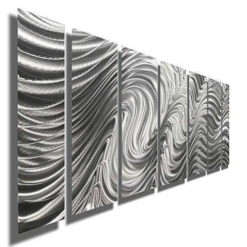 Silver Contemporary Metal Wall Art Sculpture - Multi Panel Metal Decor