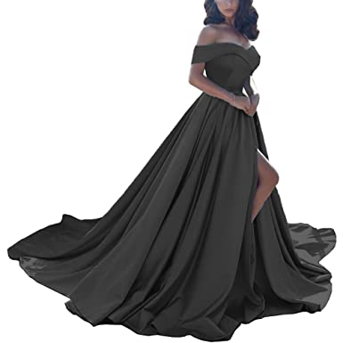 2d6729d151 Womens Off The Shoulder Prom Dress High Split Satin Formal Evening Ball  Gown Black US2