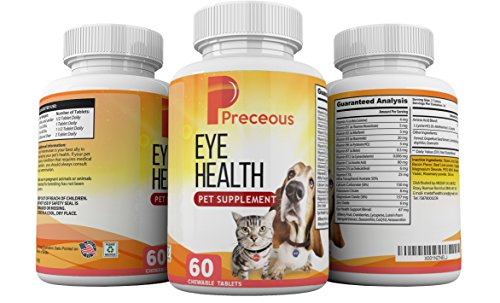 Preceous Eye Health Pet Dietary Supplement for Dogs and Cats with Vitamins A B C D and E for Good Vision For Sale