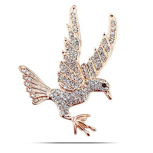ian Crystal Vintage Style Antique Gold Silver Black Crystal Eyes Flying Eagle Bird Brooch Pins for Mens Womens Suits (Gold) ()