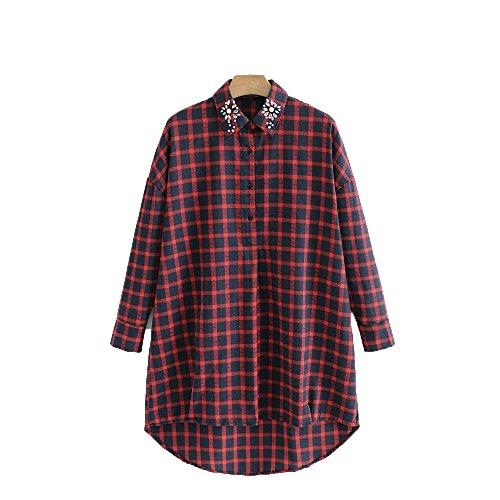Camisa Grande la de OMAS de de Simple Las Rojo la Vestido de Camiseta Talla la Cuadros clásico a Mujeres Vestido Flojo xpqHpY6T