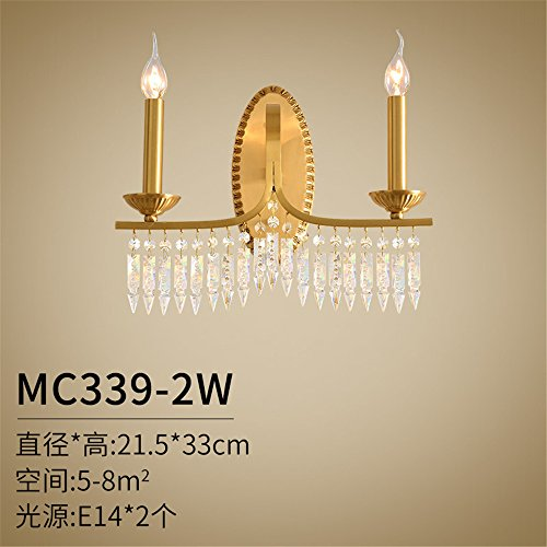 Industrial Vintage Wall Sconces All of The Brass Wall lamp Bedroom Bedside lamp Living Room Walls The Road Light French Luxury Romantic Crystal Wall Lights (21.533cm) ()